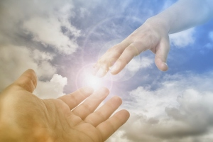 God's Saving Hand reaching for the faithful